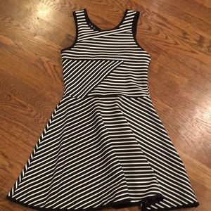 Emily West sleeveless stripe dress w/ cut out back